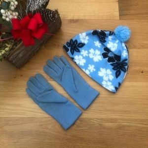 Old Navy Blue & White Floral Hat Gloves Winter Set